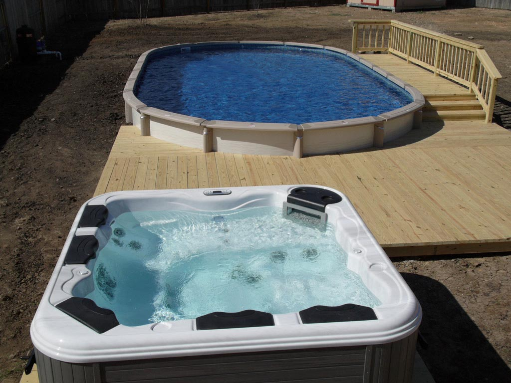 Jacuzzi Pool Ideas Above Ground Pool And Hot Tub Combo Backyard Design Ideas