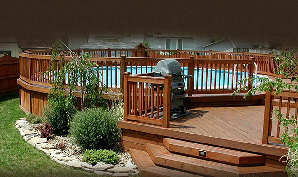 Above Ground Swimming Pool With Deck Backyard Design Ideas