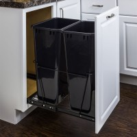 Double 50 Quart Trash Can Pullout - All Cabinet Parts