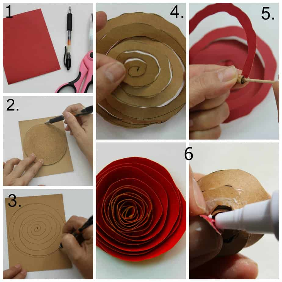 Easy paper rose paper crafts scrapbooking paper for Handmade things step by step
