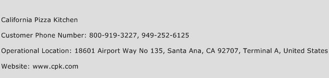 California Pizza Kitchen Customer Service Phone Number