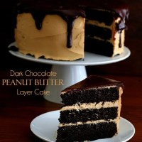 Dark Chocolate Peanut Butter Layer Cake - Low Carb and Gluten-Free