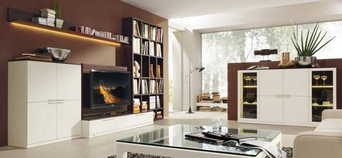 modern-gestaltet-Wohnzimmer-Musterring-Idee-Technologien-braun - wohnzimmer weis modern