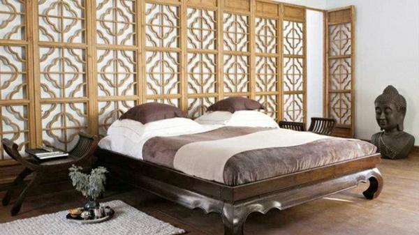 Ideen und tipps für zen atmosphäre im schlafzimmer bett dekoration braun innenarchitektur