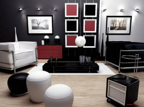 wohnbereich-farben-schwarz-weiß-rot-akzent-farbe1jpg (500×374 - bilder wohnzimmer schwarz weiss