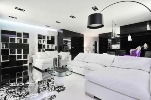 wohnzimmer-farben-schwarz-weiß-regale-ecksofa-lila-sessel1jpg - bilder wohnzimmer schwarz weiss
