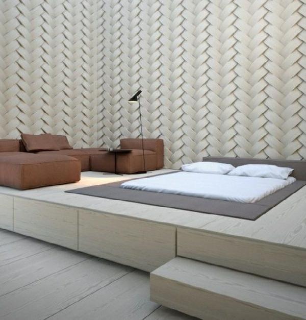 Schlafzimmer Ideen Bett Bettenarte Eingebaut Podest Holztreppen