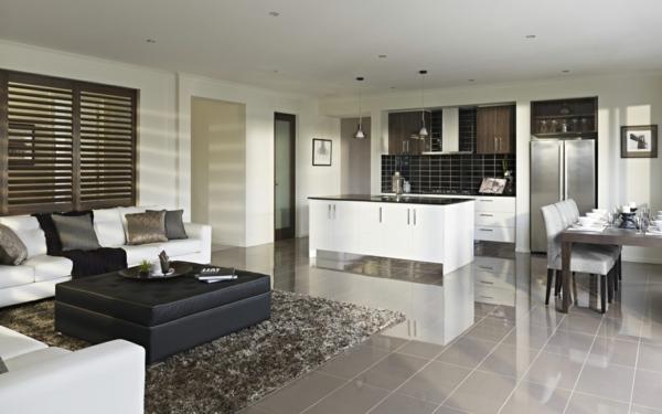 ▷ Modernes Wohnzimmer einrichten - Wohn- und Küchenraum kombinieren - inneneinrichtungsideen wohnzimmer kuche