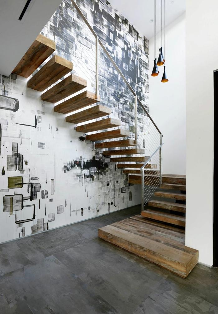 einrichtungsideen-beleuchtung-treppenhaus-wandgestaltung - einrichtungsideen