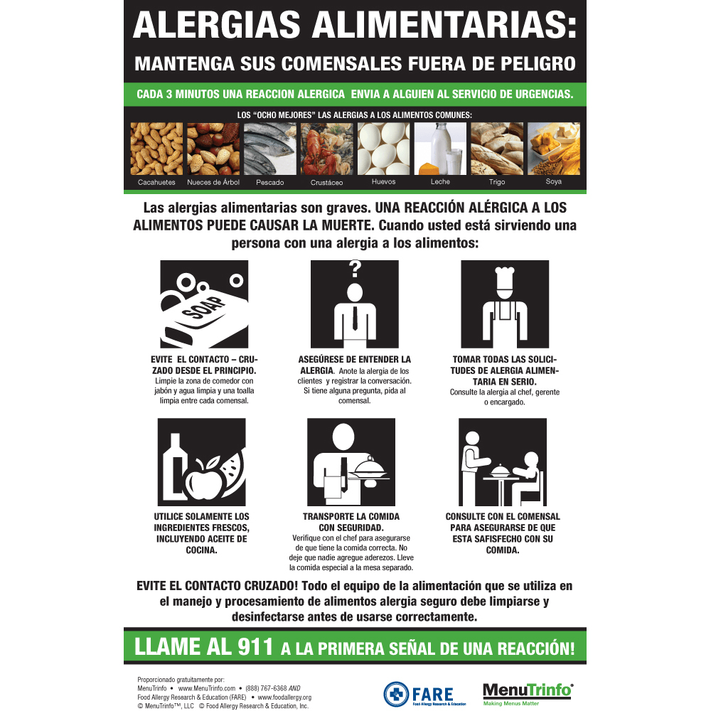 Poster In Spanish Food Allergy Poster Spanish