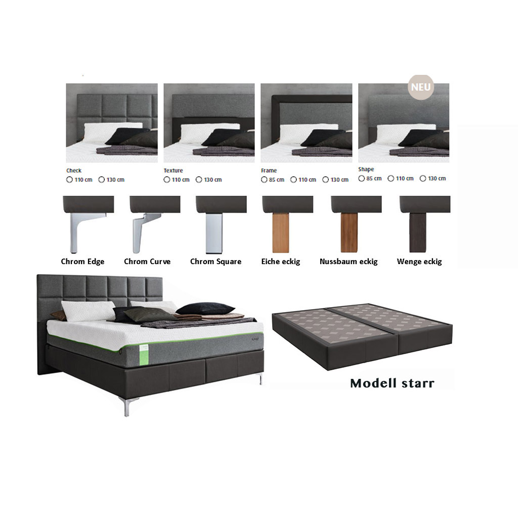 Bett 180x190 Tempur Boxspring Bett Foundation Flat Starr Incl Cloud Elite