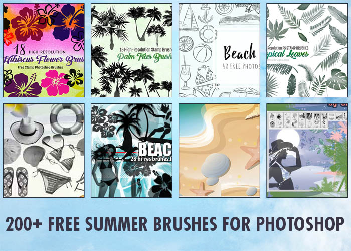 Summer Clip Art 200 High-Quality Photoshop Brushes for Fun Designs