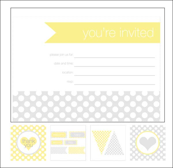 Shower Invitation Cards 35 Sets of Printable Templates to Download