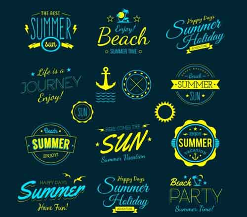 Logo Templates 200+ Editable Free Vector Summer Labels