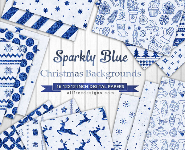 Printable Christmas Cards in Sparkly Blue to Download Free