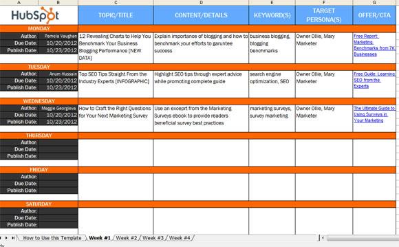 Use a Blog Editorial Calendar Quick Tip - editorial calendar template