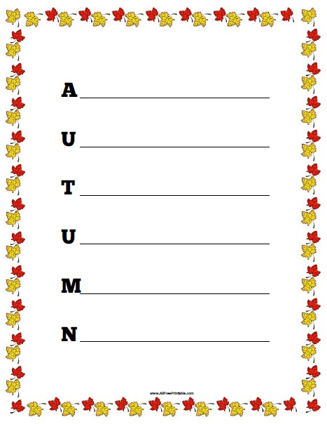Autumn Acrostic Poem Worksheet - Free Printable - AllFreePrintable