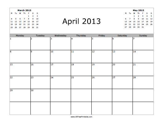 April 2013 Calendar - Free Printable - AllFreePrintable