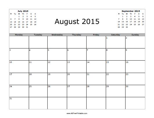 August 2015 Calendar - Free Printable - AllFreePrintable