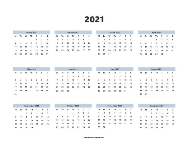 2021 Calendar - Free Printable - AllFreePrintable