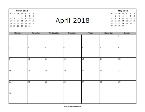 April 2018 Calendar - Free Printable - AllFreePrintable