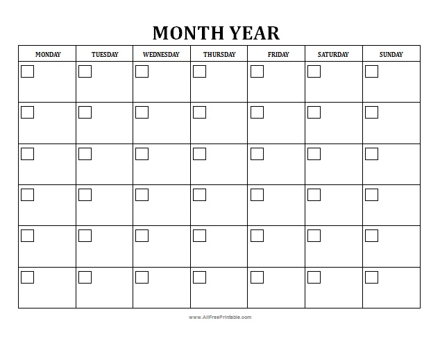 Blank Monthly Calendar - Free Printable - AllFreePrintable
