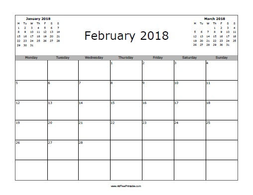 February 2018 Calendar - Free Printable - AllFreePrintable
