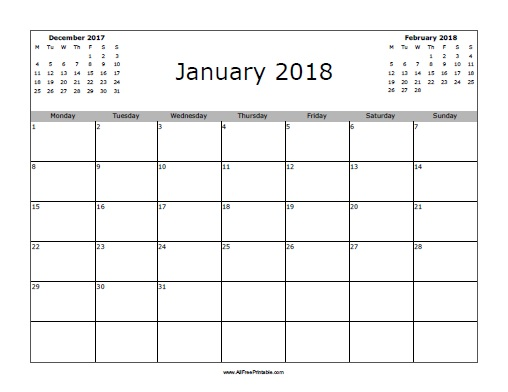 January 2018 Calendar - Free Printable - AllFreePrintable