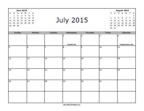 July 2015 Calendar with Holidays - Free Printable - AllFreePrintable