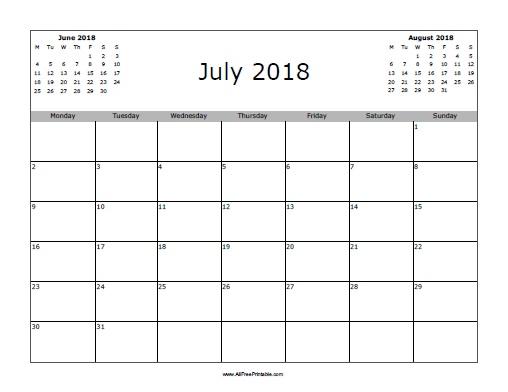 July 2018 Calendar - Free Printable - AllFreePrintable