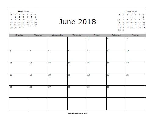 June 2018 Calendar - Free Printable - AllFreePrintable