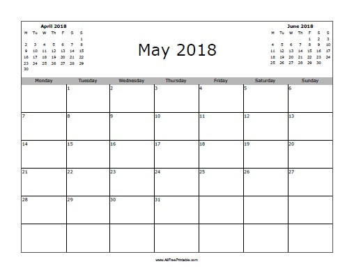 May 2018 Calendar - Free Printable - AllFreePrintable