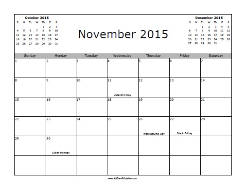 Free 2015 Calendar Template With Holidays - Costumepartyrun