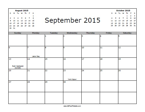 September 2015 Calendar with Holidays - Free Printable