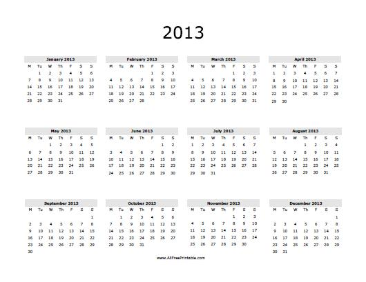 Yearly Calendar - Free Printable - AllFreePrintable