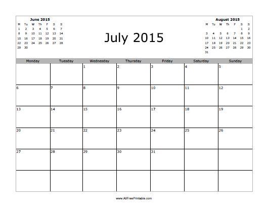 July 2015 Calendar - Free Printable - AllFreePrintable