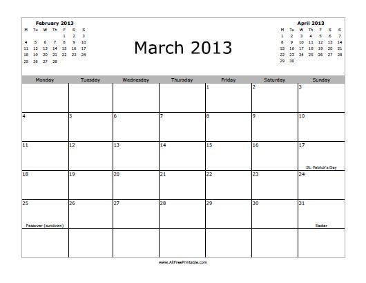 March 2013 Calendar - Free Printable - AllFreePrintable