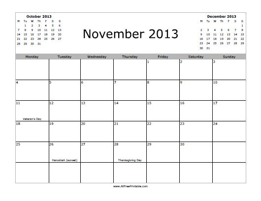 November 2013 Calendar - Free Printable - AllFreePrintable