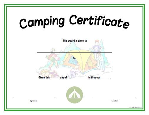 Camping Certificate - Free Printable - AllFreePrintable