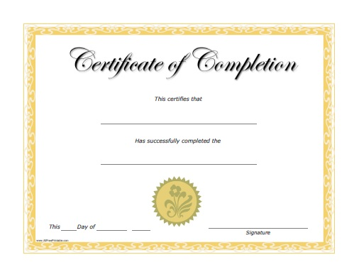 Completion Certificate - Free Printable - AllFreePrintable