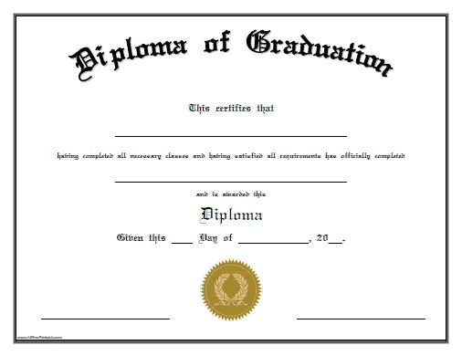 Diploma of Graduation - Free Printable - AllFreePrintable