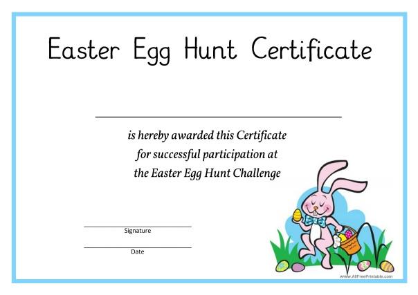 Easter Egg Hunt Certificate - Free Printable - AllFreePrintable