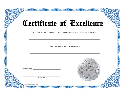 Excellence Certificate - Free Printable - AllFreePrintable