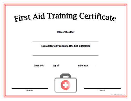 First Aid Training Certificate - Free Printable - AllFreePrintable - first aid certificate template