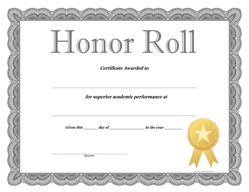 Honor Roll Certificate - Free Printable - AllFreePrintable - free printable honor roll certificates