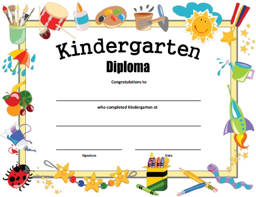 Kindergarten Diploma - Free Printable - AllFreePrintable