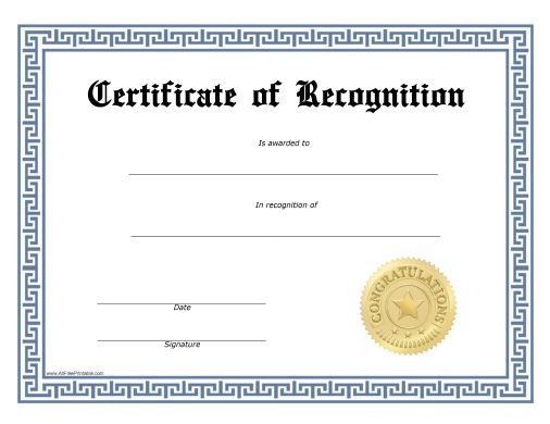 Recognition Certificate - Free Printable - AllFreePrintable