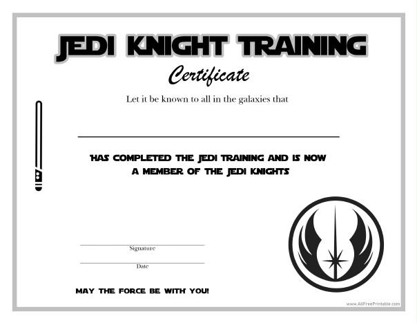 Star Wars Jedi Knight Certificate - Free Printable