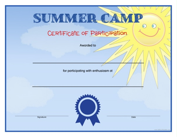 Summer Camp Certificates - Free Printable - AllFreePrintable