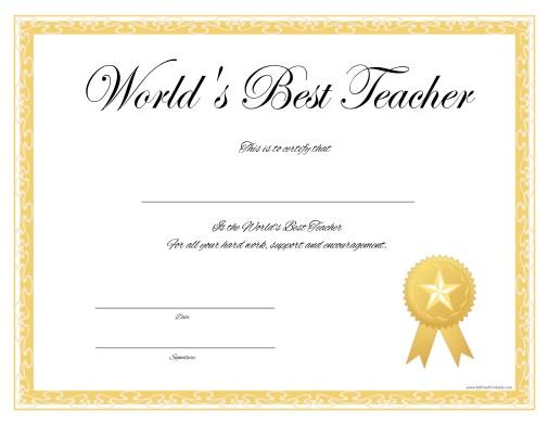 World\u0027s Best Teacher Certificate - Free Printable - AllFreePrintable